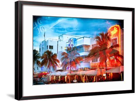 Instants of Series - Colorful Ocean Drive - South Beach - Miami Beach Art Deco Distric - Florida-Philippe Hugonnard-Framed Art Print