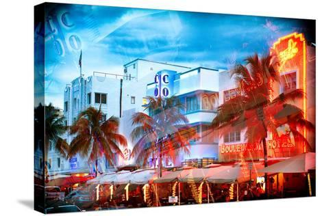 Instants of Series - Colorful Ocean Drive - South Beach - Miami Beach Art Deco Distric - Florida-Philippe Hugonnard-Stretched Canvas Print