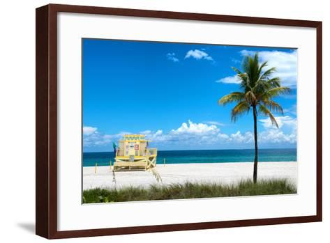South Miami Beach Landscape with Life Guard Station - Florida-Philippe Hugonnard-Framed Art Print