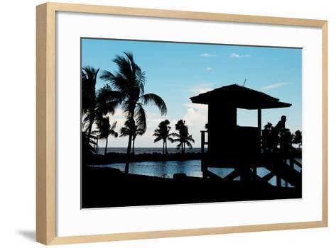 Life Guard Station at Sunset - Miami - Florida-Philippe Hugonnard-Framed Art Print