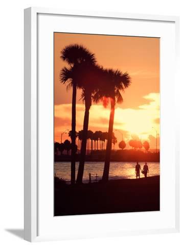 Romantic Walk along the Ocean at Sunset-Philippe Hugonnard-Framed Art Print