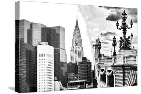 Dual Torn Posters Series - Paris - New York-Philippe Hugonnard-Stretched Canvas Print