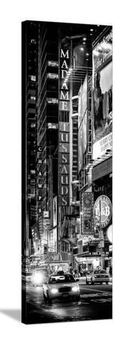 Door Posters - NYC Urban Scene with Yellow Taxis by Night - 42nd Street and Times Square-Philippe Hugonnard-Stretched Canvas Print