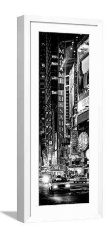 Door Posters - NYC Urban Scene with Yellow Taxis by Night - 42nd Street and Times Square-Philippe Hugonnard-Framed Art Print