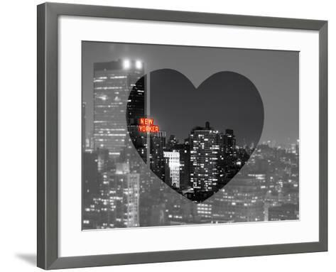 Love NY Series - B&W Cityscape at Night with the New Yorker Hotel - Manhattan - New York - USA-Philippe Hugonnard-Framed Art Print