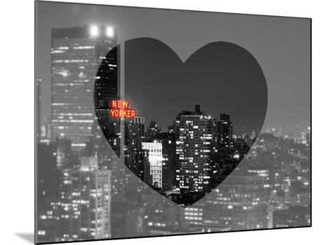 Love NY Series - B&W Cityscape at Night with the New Yorker Hotel - Manhattan - New York - USA-Philippe Hugonnard-Mounted Photographic Print