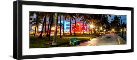 Colorful Street Life - Ocean Drive by Night - Miami-Philippe Hugonnard-Framed Art Print