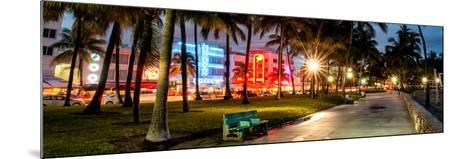 Colorful Street Life - Ocean Drive by Night - Miami-Philippe Hugonnard-Mounted Photographic Print