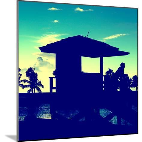 Silhouette of Life Guard Station at Sunset - Miami-Philippe Hugonnard-Mounted Photographic Print