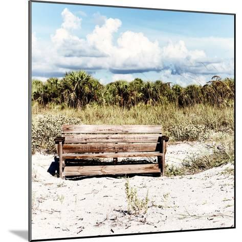 Wooden Bench overlooking a Florida wild Beach-Philippe Hugonnard-Mounted Photographic Print