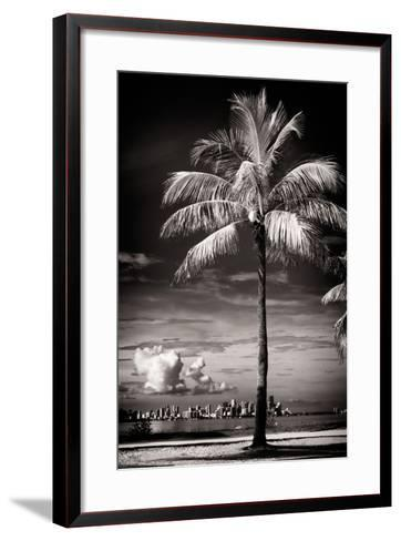 Palm Tree overlooking Downtown Miami - Florida-Philippe Hugonnard-Framed Art Print