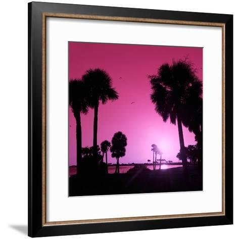 Silhouette Palm Trees at Sunset-Philippe Hugonnard-Framed Art Print