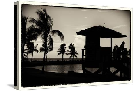 Life Guard Station at Sunset - Miami - Florida-Philippe Hugonnard-Stretched Canvas Print