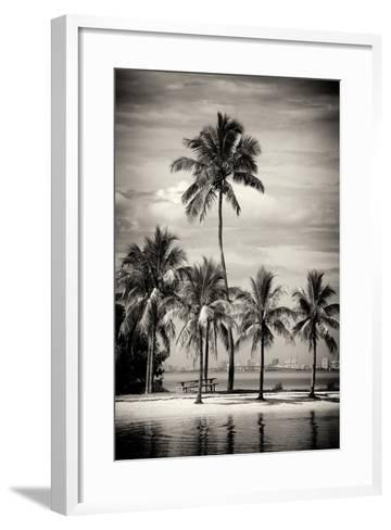 Paradisiacal Beach overlooking Downtown Miami - Florida-Philippe Hugonnard-Framed Art Print