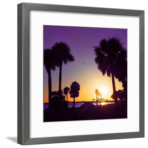 Silhouette Palm Trees at Sunset-Philippe Hugonnard-Framed Art Print