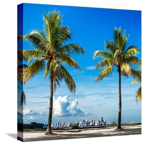 Palm Trees overlooking Downtown Miami - Florida-Philippe Hugonnard-Stretched Canvas Print