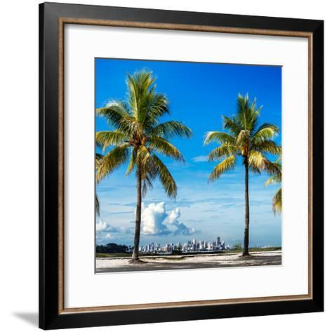 Palm Trees overlooking Downtown Miami - Florida-Philippe Hugonnard-Framed Art Print