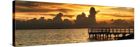 Wooden Landing Jetty at Sunset-Philippe Hugonnard-Stretched Canvas Print