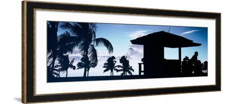 Silhouette of Life Guard Station at Sunset - Miami-Philippe Hugonnard-Framed Art Print