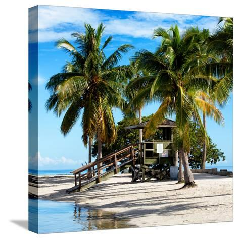 Paradisiacal Beach with a Life Guard Station - Miami - Florida-Philippe Hugonnard-Stretched Canvas Print