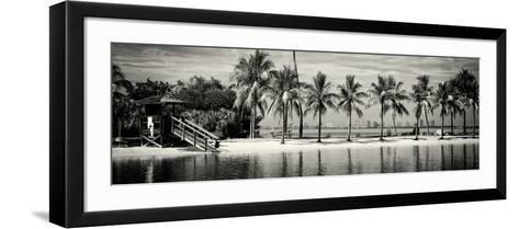 Paradisiacal Beach overlooking Downtown Miami - Florida-Philippe Hugonnard-Framed Art Print