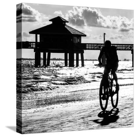 Cyclist on a Florida Beach at Sunset-Philippe Hugonnard-Stretched Canvas Print