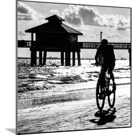 Cyclist on a Florida Beach at Sunset-Philippe Hugonnard-Mounted Photographic Print