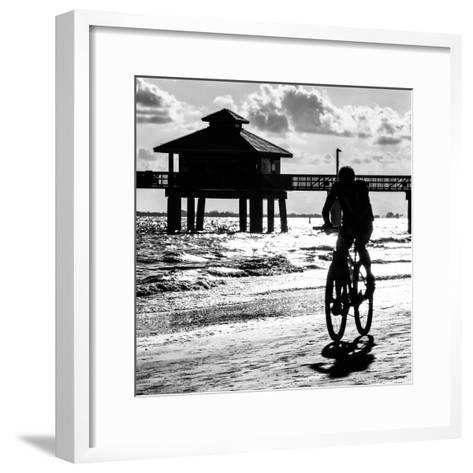 Cyclist on a Florida Beach at Sunset-Philippe Hugonnard-Framed Art Print