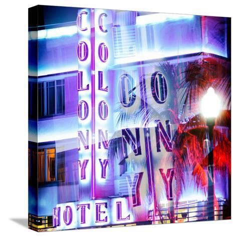 Instants of Series - Ocean Drive with the Colony Hotel by Night - Miami Beach - Florida - USA-Philippe Hugonnard-Stretched Canvas Print