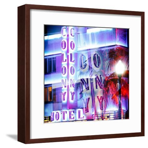 Instants of Series - Ocean Drive with the Colony Hotel by Night - Miami Beach - Florida - USA-Philippe Hugonnard-Framed Art Print