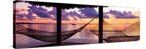 Two Hammocks at Sunset - View of Gulf of Mexico - Florida - USA-Philippe Hugonnard-Stretched Canvas Print