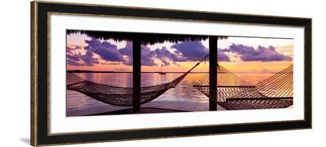 Two Hammocks at Sunset - View of Gulf of Mexico - Florida - USA-Philippe Hugonnard-Framed Art Print