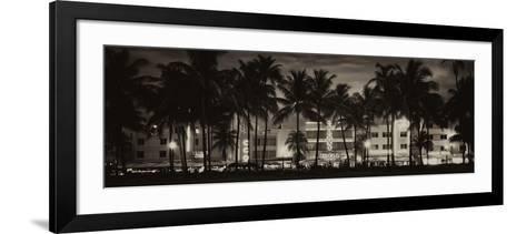 Buildings Lit Up at Dusk - Ocean Drive - Miami Beach-Philippe Hugonnard-Framed Art Print