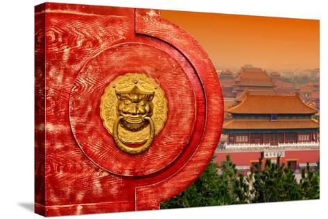 China 10MKm2 Collection - The Door God - Forbidden City Architecture-Philippe Hugonnard-Stretched Canvas Print