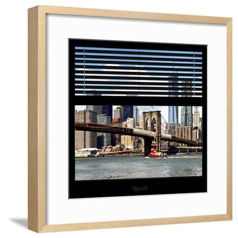 View from the Window - NYC Skyline and Brooklyn Bridge-Philippe Hugonnard-Framed Art Print