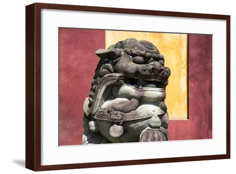 China 10MKm2 Collection - Asian Sculpture of a Stone Lion-Philippe Hugonnard-Framed Art Print