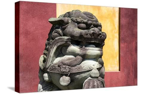 China 10MKm2 Collection - Asian Sculpture of a Stone Lion-Philippe Hugonnard-Stretched Canvas Print