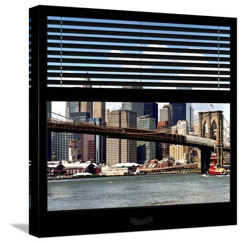 View from the Window - NYC Skyline and Brooklyn Bridge-Philippe Hugonnard-Stretched Canvas Print