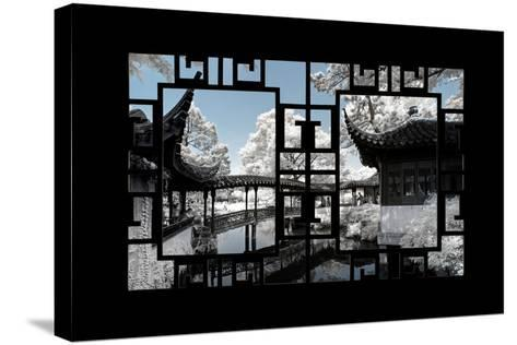 China 10MKm2 Collection - Asian Window - Another Look Series - Black Chinese Temple-Philippe Hugonnard-Stretched Canvas Print