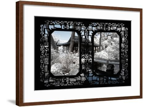 China 10MKm2 Collection - Asian Window - Another Look Series - Black Chinese Temple-Philippe Hugonnard-Framed Art Print