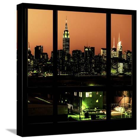 View from the Window - Night Skyline - New York City-Philippe Hugonnard-Stretched Canvas Print