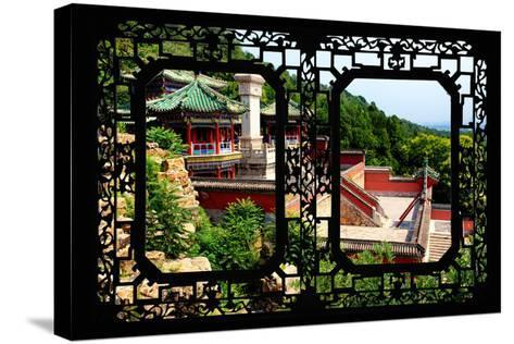 China 10MKm2 Collection - Asian Window - Summer Palace Temple-Philippe Hugonnard-Stretched Canvas Print