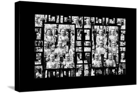 China 10MKm2 Collection - Asian Window - Gold Buddhist Statues in Longhua Temple-Philippe Hugonnard-Stretched Canvas Print