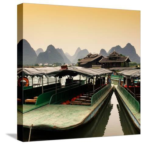 China 10MKm2 Collection - Chinese Boats with Karst Mountains at Sunset-Philippe Hugonnard-Stretched Canvas Print