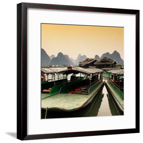 China 10MKm2 Collection - Chinese Boats with Karst Mountains at Sunset-Philippe Hugonnard-Framed Art Print