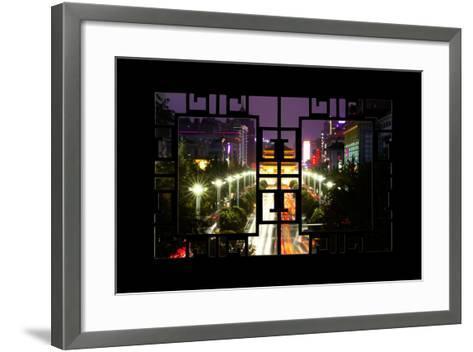 China 10MKm2 Collection - Asian Window - City Night Xi'an-Philippe Hugonnard-Framed Art Print