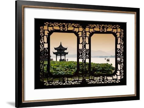 China 10MKm2 Collection - Asian Window - West Lake at sunset-Philippe Hugonnard-Framed Art Print