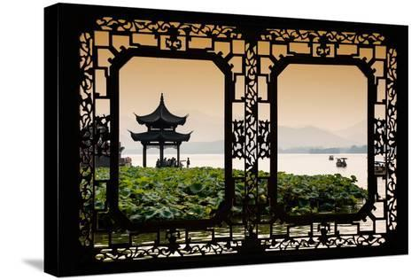 China 10MKm2 Collection - Asian Window - West Lake at sunset-Philippe Hugonnard-Stretched Canvas Print