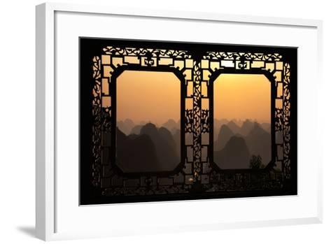 China 10MKm2 Collection - Asian Window - Karst Mountains at Sunset - Yangshuo-Philippe Hugonnard-Framed Art Print