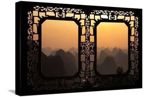 China 10MKm2 Collection - Asian Window - Karst Mountains at Sunset - Yangshuo-Philippe Hugonnard-Stretched Canvas Print